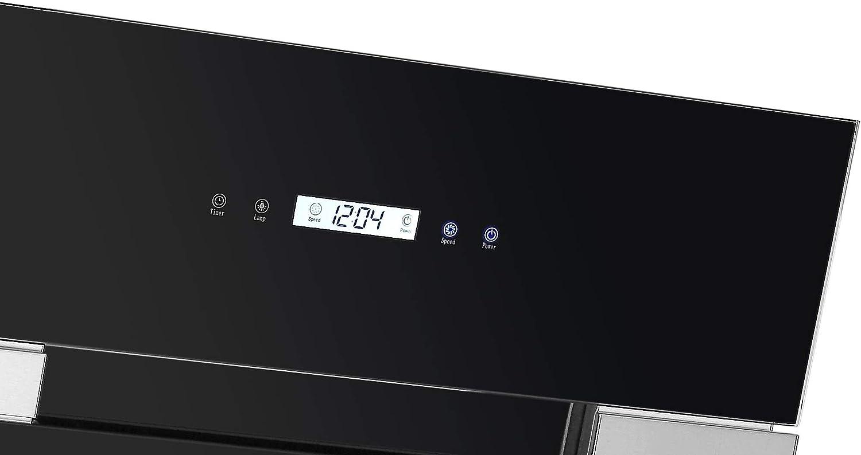 Viesta DH900XE Campana de cocina 90cm - Campana extractora/Sensor de control táctil, iluminación LED, hecho de acero y cristal negro: Amazon.es: Grandes electrodomésticos