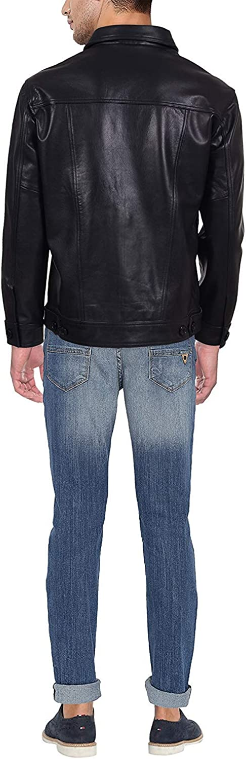 HiLEDER Mens 100/% Pure Genuine Nappa Leather Jacket with 2 Stylish Front Buttoned Pockets Black