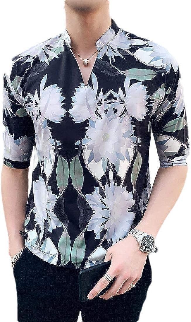 Winwinus Men Floral Print Short Sleeve Contrast Plaid Slim Fit Woven Shirt