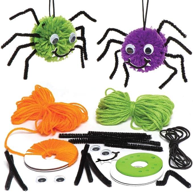 Baker Ross Kits de arañas de pompón Decorativas (Pack de 3) para Manualidades y Decoraciones Infantiles de Halloween: Amazon.es: Juguetes y juegos