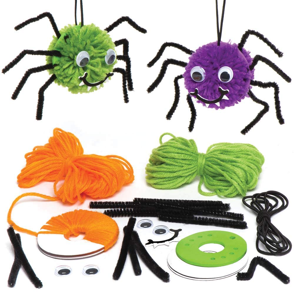 Baker Ross Spider Pom Pom Decoration Kits (Pack Of 3) For Kids Halloween Crafts And Decorations