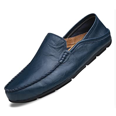 Mens Loafers Leather Slip on Casual Boat Shoes Square Toe Moccasins Flats Slippers Wide