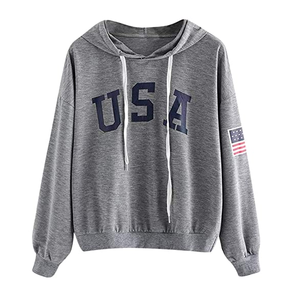 Amazon.com: Dainzuy Ladies Sexy Casual Sweatshirt,Long Sleeve Letter Flag Printed Hoodie Pullover Tops Blouse: Kitchen & Dining