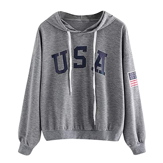 NUWFOR Womens Hoodie Letter Flag Printed Sweatshirt Long Sleeve Pullover Tops Blouse(Drak Dray,