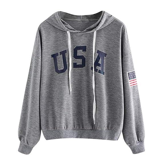 Amazon.com: Womens Sweatshirt Laimeng_World Womens Hoodie Letter Flag Printed Sweatshirt Long Sleeve Pullover Winter Tops Blouse: Clothing