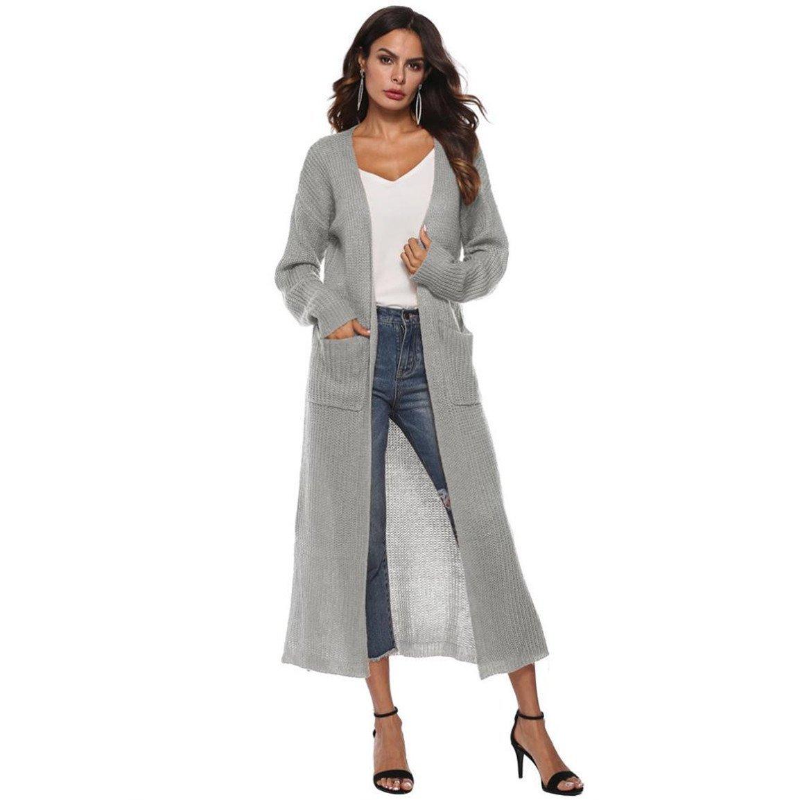 Moonuy Frauen Langarm Bluse Damen Langen Mantel Herbst Open Cape Casual Kimono Jacke Strickjacke mit Taschen
