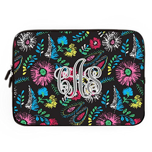 Monogrammed Initials on Computer Sleeve 17 17.3 Inch Personalized Netbook Tablet Laptop Case Soft Neoprene Sleeve Case Cover for 17