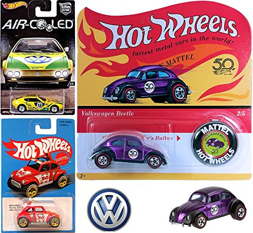 Replica Button (2018 Hot Wheels 50th Originals Collection 2/5 Volkswagen Beetle Spectraflame Purple Replica Card with Button + Air Cooled VW SP2 Real Riders & Baja Beetle Retro Blue Card Exclusive 3 Pack)