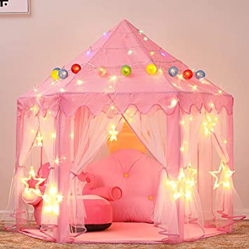 check out a7765 b38d5 Ejoyous Girls Princess Tent, Kids Play Castle Tent Foldable Pop Up Pink  Playhouse with LED Star Lights for Boys Children Toddler Indoor and Outdoor