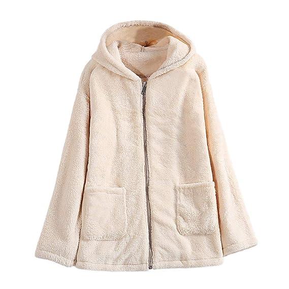 Luckycat Abrigo Esponjoso para Mujer Abrigo de Chaqueta de Invierno Chaqueta con Capucha de Bolsillo Outwear