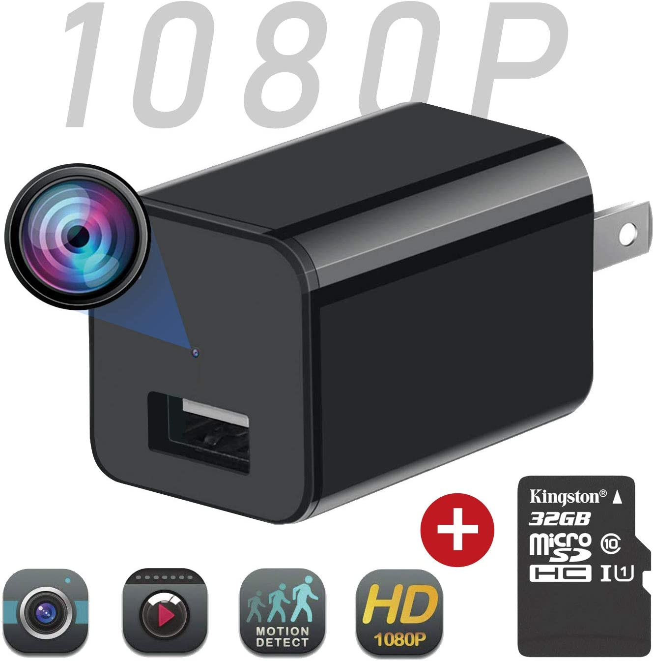 Eesteros Spy Camera 1080P HD USB Charger Camera Hidden Camera with Motion Detection Mode for Home Security Support up to 32G Micro SD Card Not Include Nanny Cam