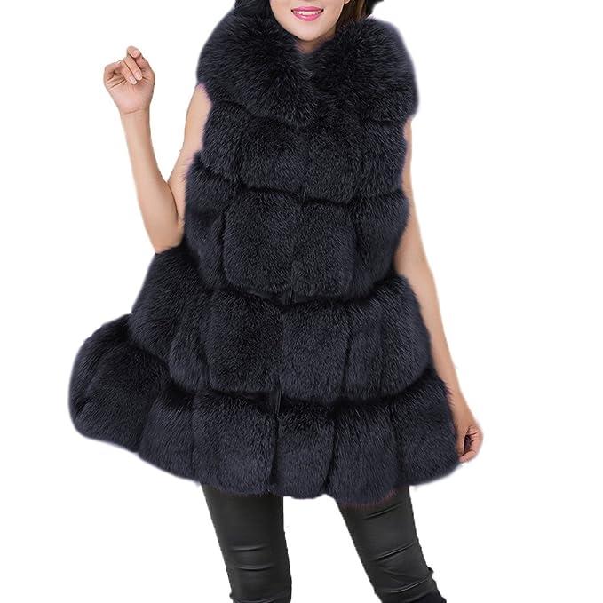 FOLOBE Mujer Caliente de Piel de Zorro de Imitación Chaleco Outwear Larga Slim Chaleco Chaqueta Abrigo: Amazon.es: Ropa y accesorios