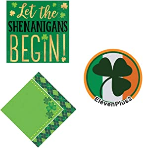 St. Patrick's Day Multi-Pack Napkins: Let The Shenanigans Begin Shamrock Napkins and Festive Green Argyle design and an Exclusive ElevenPlus2 St. Paddy's Button