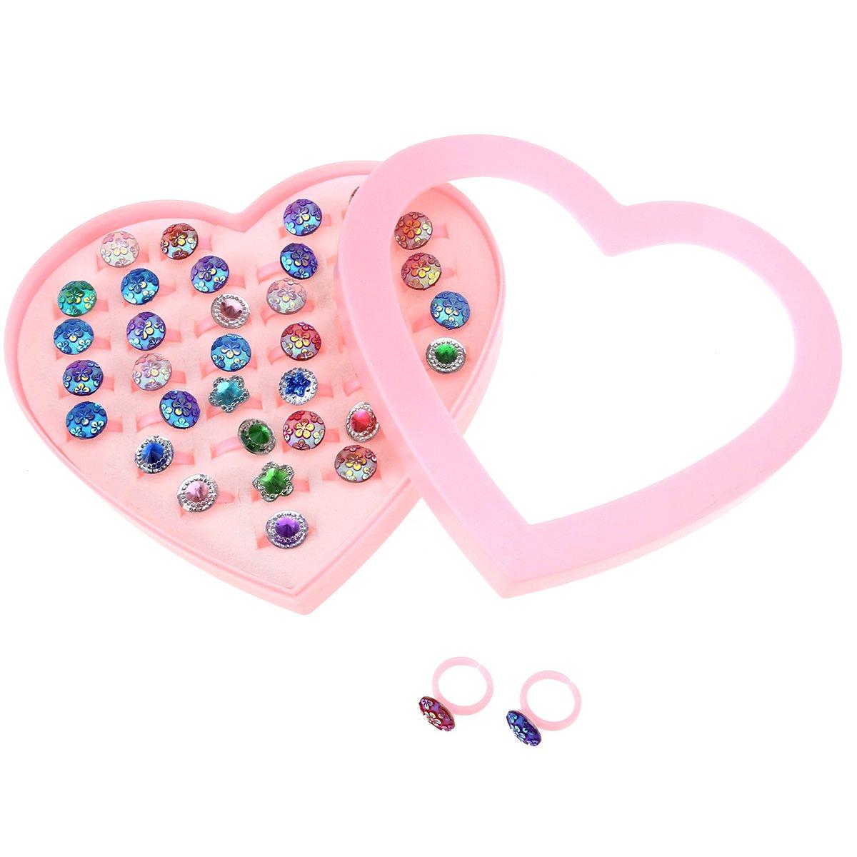 Tinksky Fiori di plastica dei bambini fiammifero regolabile con il caso di figura di figura del cuore per favore dei compleanno di compleanno dei capretti 36pcs (scala)