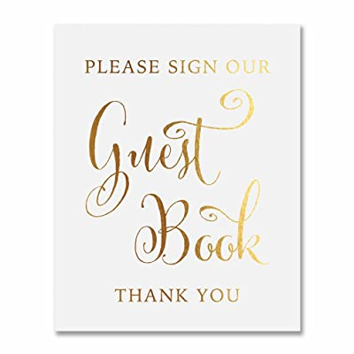 Guest Book Gold Foil Sign Wedding Reception Party Signage Art Print Modern Poster Decor 8 inches x 10 inches D34