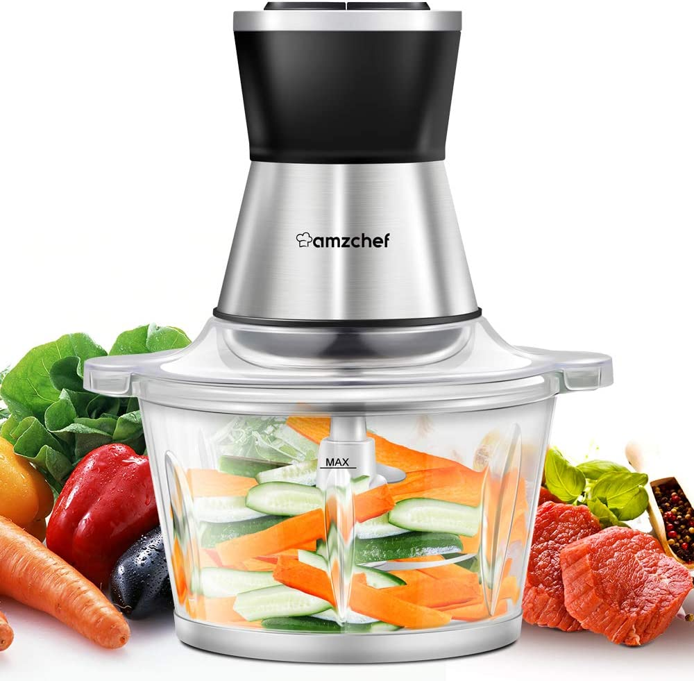 Food Chopper, Amzchef Electric Meat Chopper with Fast & Slow Speeds Control,1.8L BAP-free Glass Bowl, Safety Function, 4 Stainless Steel Blades, 350W Food Processor for Meat, Carrots, Onion, Garlic