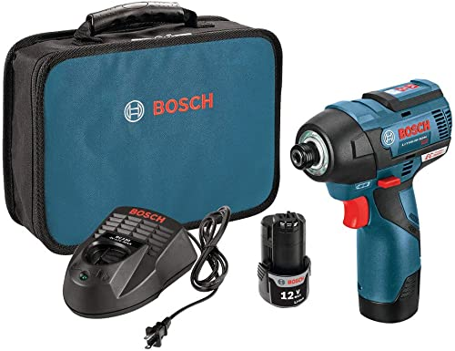 Bosch PS42-02-RT 12V MAX 2.0 Ah Cordless Lithium-Ion EC Brushless 1 4 in. Hex Impact Driver Kit Renewed