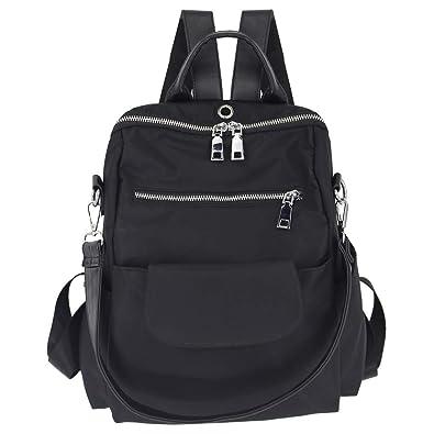 Amazon.com  Women s fashion washed pu leather designer backpack best  waterproof bookbags travel shopping rucksacks tote (Black Nylon )  Shoes 7c2a5fd028cc8