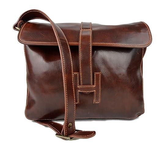 e407785d8b Cartella pelle messenger a tracolla postino borsa vera pelle uomo donna  made in Italy marrone
