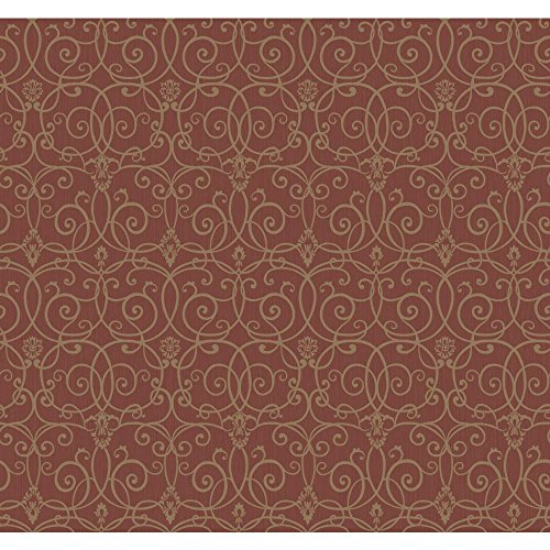 York Wallcoverings SS1333SMP Red Book Trellis Scroll Wallpaper Memo Sample, 8-Inch x 10-Inch, Red/Gold Metallic