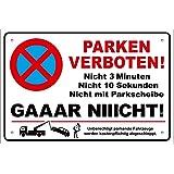 TATMOTIVE PS01 Parkverbotsschild lustig Schild Parken verboten inkl. Schrauben & Löcher / Anti-Graffiti Schutz / 300 x 200 x 3 mm