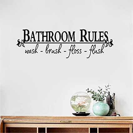 Amieo Wall Decal Sticker Art Mural Home Decor Quote Bathroom Rules Quotes Stickers Decoration