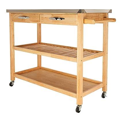 Amazon.com - Leadzm Portable Kitchen Trolley Cart Rolling ...