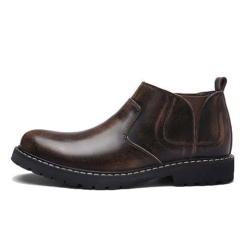 LYZGF Hombres Four Seasons Chelsea Boots Moda Informal Botines Juventud Botas De Cuero: Amazon.es: Zapatos y complementos