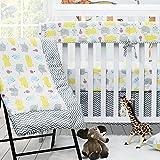 Brandream Crib Bedding Sets for Boys Girls Baby Bedding Set 100% Cotton - 2 Packs Crib Sheet & Solid Crib Skirt & Baby Comforter, Grey Elephant Chevron Print Crib Set, 4 pieces