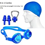 Bodyfit 4 in 1 Swimming Kit - Swimming Goggles, Swimming Cap, Ear Plug, Nose Clip