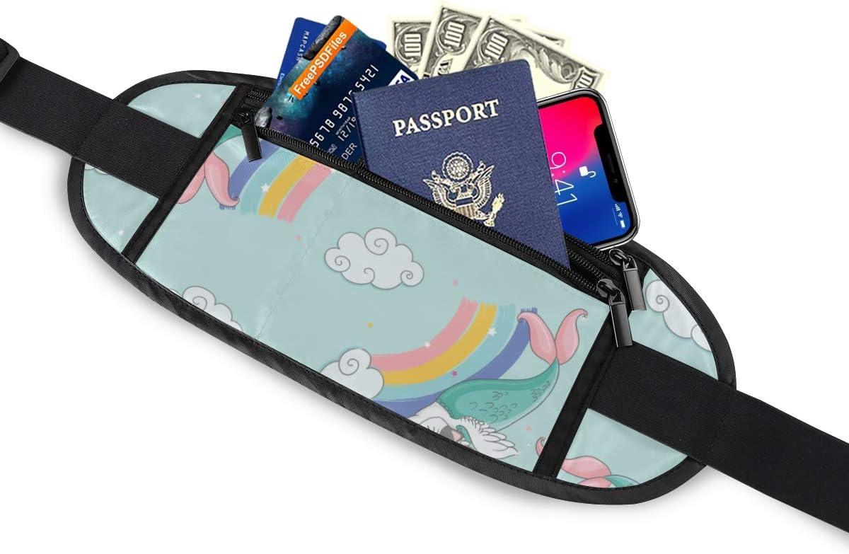 Fun Cat Mermaid On Rainbows Running Lumbar Pack For Travel Outdoor Sports Walking Travel Waist Pack,travel Pocket With Adjustable Belt