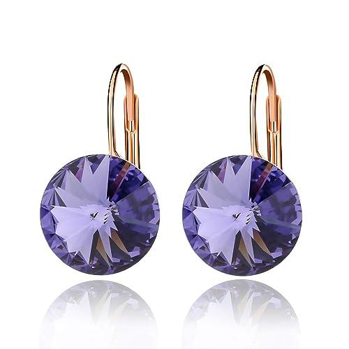 c667c67d27eaea Round Drop Swarovski Crystal Earrings for Women Girls 14K Gold Plated  Leverback Hook Earrings (Tanzanite