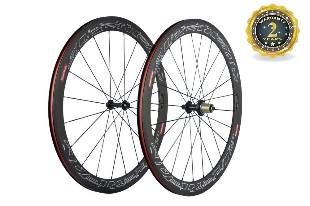 Superteam 50mm クリンチャー ホイールセット 700c 23mm 幅 サイクリング レーシング ロード カーボン ホイール デカール  White Line Decal B07412K9CN