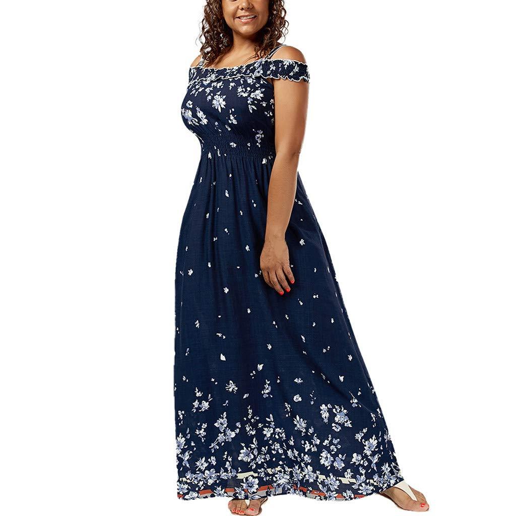 Onegirl Women's Summer Casual Bohemian Long Dress Off Shoulder Print Strap Plus Size Loose Maxi Dresses Blue