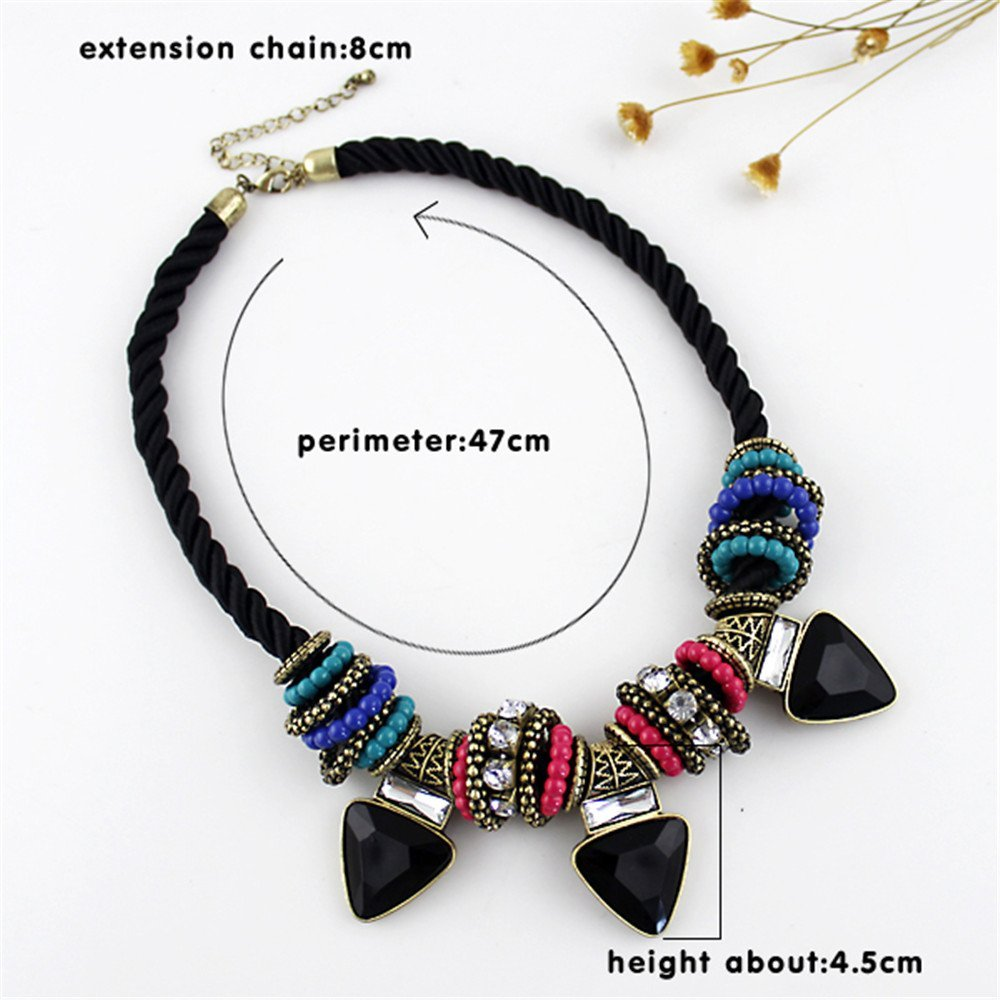 Feelnear Bohemian Style Ethnic Choker Boho Necklace with Black Rope Chain and Colorful Bead