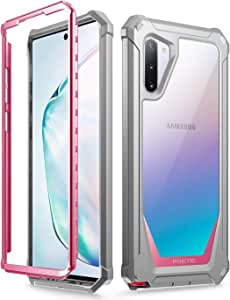 Galaxy Note 10 Rugged Clear Case, Poetic Full-Body Hybrid Bumper Cover, Support Wireless Charging, Without Built-in-Screen Protector, Guardian Series, Case for Samsung Galaxy Note 10, Pink