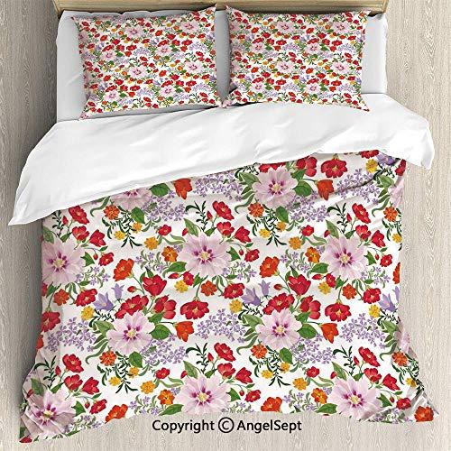 (AngelSept Bedding 3-Piece Set Duvet Cover Set,Flourishing Nature Wildflowers Graceful Garden Carnation Lilac Summer Meadow Decorative,Full Size,1 Quilt Cover 2 Pillow Shams,Multicolor )