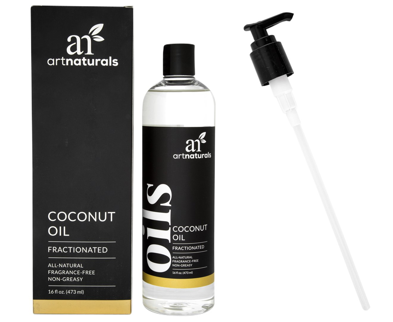 ArtNaturals Premium Fractionated Coconut Oil - 16 oz - Natural and Pure – Therapeutic Grade Carrier and Massage Oil – for Hair and Skin or Diluting Aromatherapy Essential Oils. ANFCO123001-CA