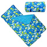 Kids Nap Mat with Removable Pillow - Soft, Lightweight Mats, Easy Clean Toddler Nap Pad for Preschool, Daycare, Kindergarten - Children Sleeping Bag (Blue with Dinosaur Design) by Bambino Bliss