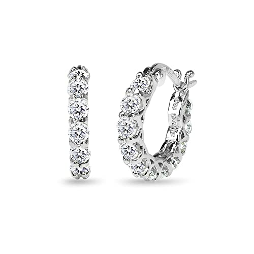 Sterling Silver Round Small Huggie Hoop Earrings Made with Swarovski Zirconia