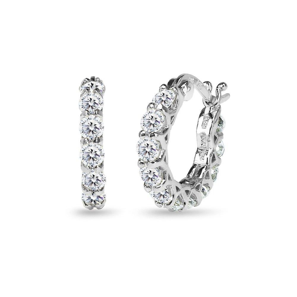 Sterling Silver Round Small Huggie Hoop Earrings Made with Swarovski Zirconia