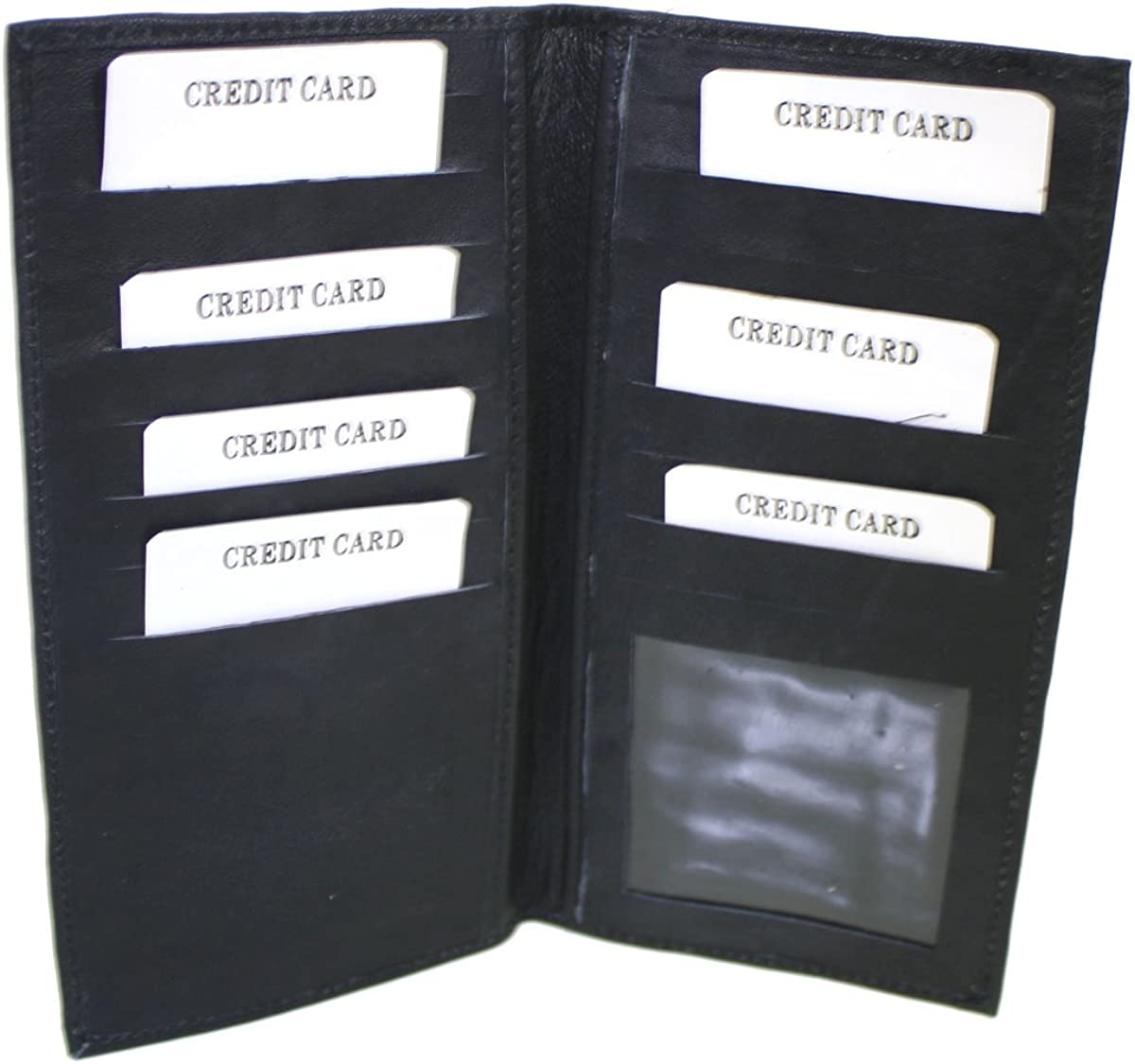 Genuine Leather Credit Card Wallet Plain Black