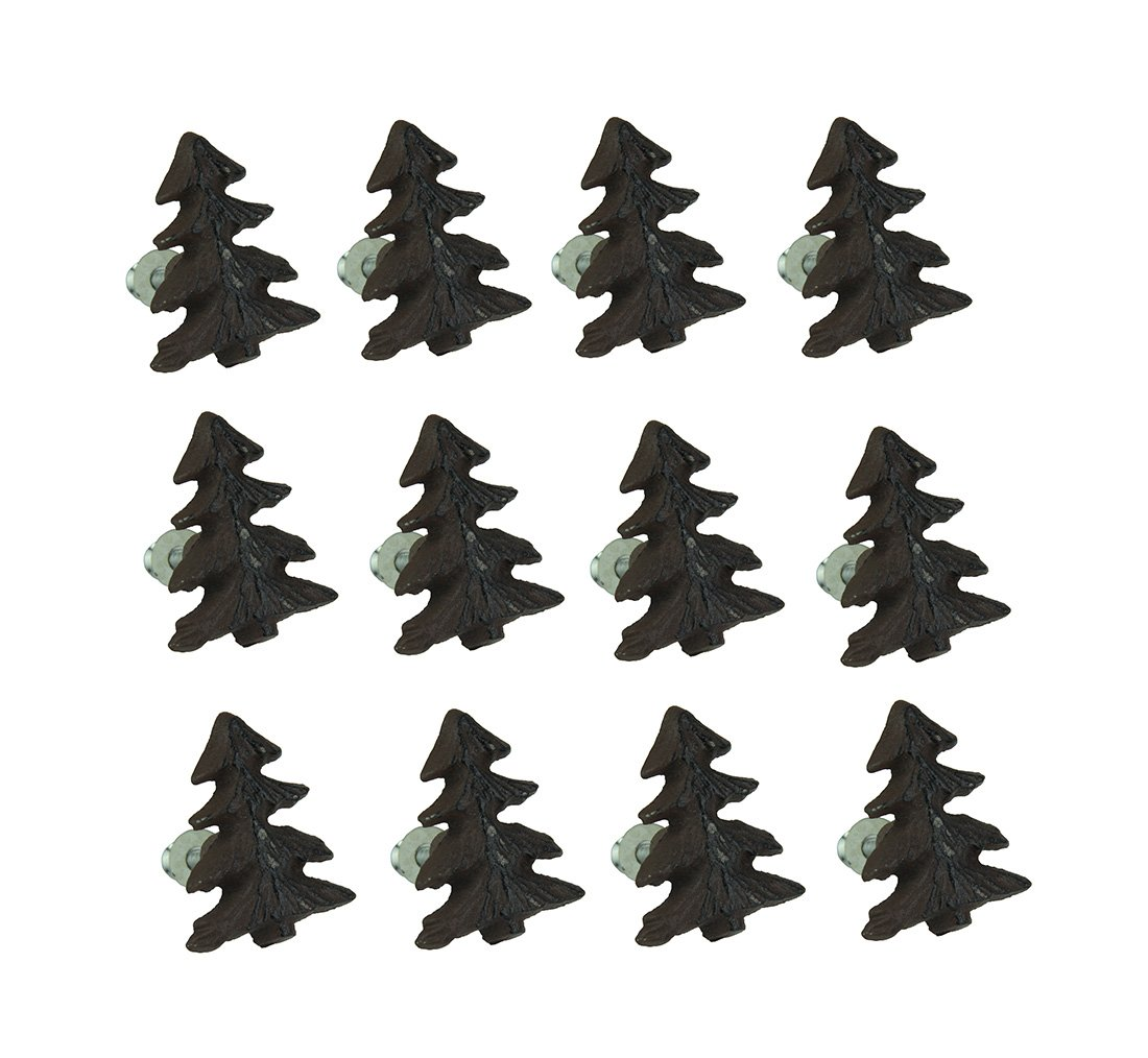 Zeckos Cast Iron Drawer Pulls Rustic Brown Woodland Pine Tree 12 Piece Cast Iron Drawer Pull Set 1.5 X 2 X 1 Inches Brown DE LEON COLLECTIONS