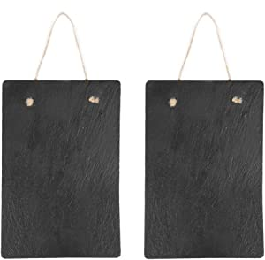 2 Packs Slate Farmouse Hanging Chalkboard Sign,8 x11 Inches - Black Rustic Wall Décor for Kitchen, Wedding, Bathroom, Outdoor Garden, Pantry Signs