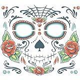 Day of the Dead Sugar Skull Full Face Temporary Tattoo