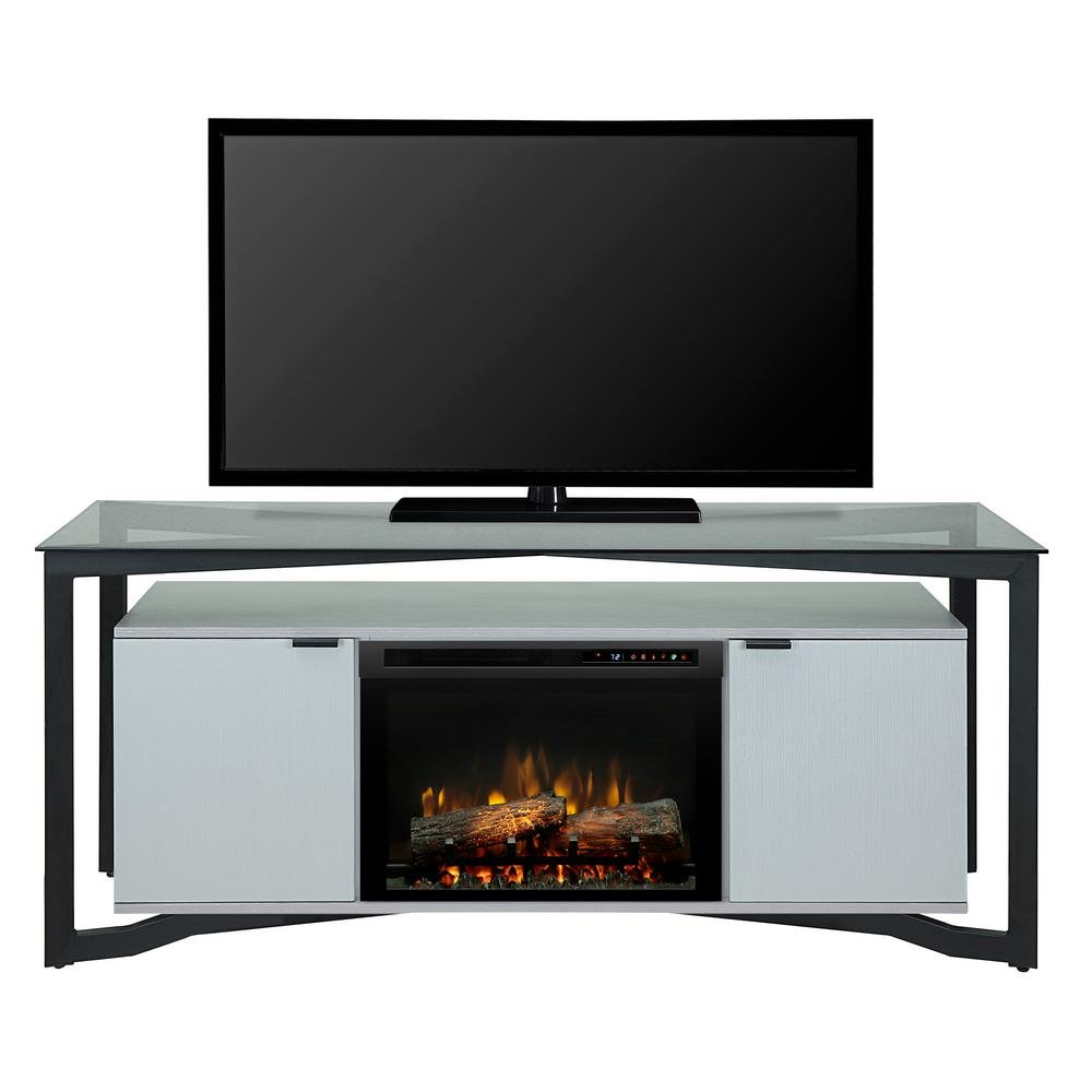 Dimplex Christian 70'' media console electric fireplace with logset firebox in silver wave by Dimplex