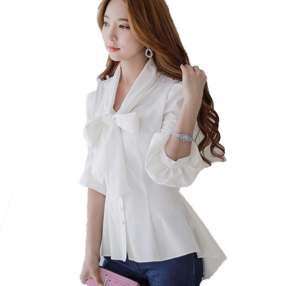 SansoiSan Womens Half Sleeve Top Casual V Neck Layered Chiffon Blouses (White, X-Small)