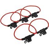 Portafusibles en Línea de Cuchilla Impermeable Portafusibles de Lámina de Coche 12V 30A 5PCS