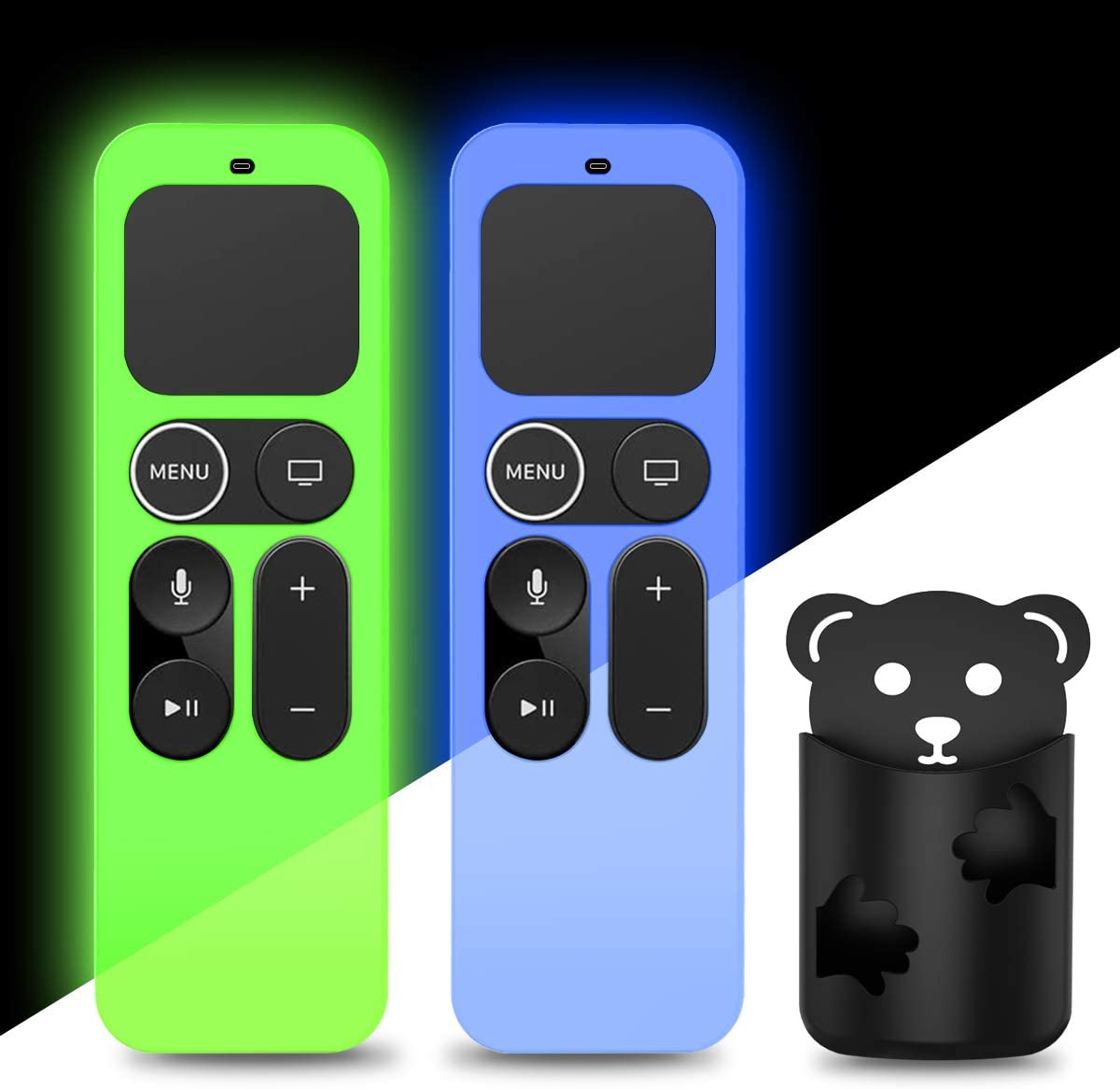 2Pack Silicone Case Cover Compatible for Apple TV 4K 5th, 4th Gen Remote,Remote Case Holder Skin for Apple TV Siri Remote Control Cover Glow in The Dark, Glowgreen+Glowblue