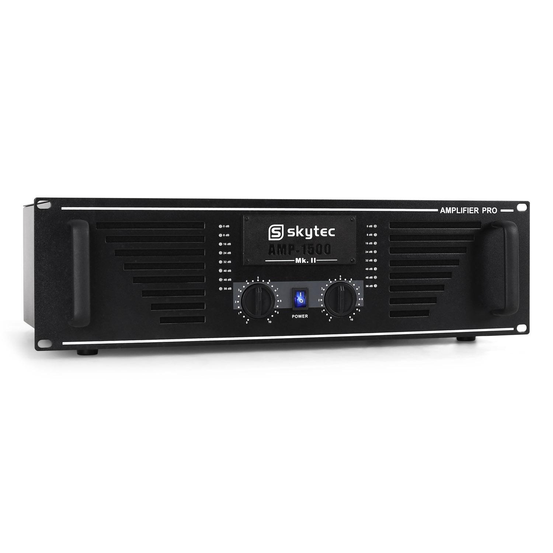 Skytec PRO-1500W DJs Amplificador Sonido Profesional Rack de 19 Pulgadas